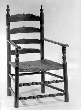 American. <em>Armchair, Slatback</em>, 1675-1725. Maple and other woods., 36 1/4 x 24 x 22 7/16 in. (92.0 x 61.0 x 57.0 cm). Brooklyn Museum, Museum Purchase Fund, 35.1052. Creative Commons-BY (Photo: Brooklyn Museum, 35.1052_acetate_bw.jpg)