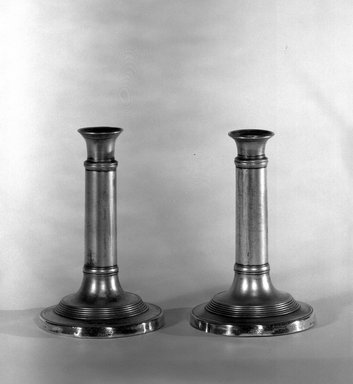 <em>Candlestick with Extension Top</em>, ca.1800., 6 7/8 x 4 5/16 in. (17.5 x 11 cm). Brooklyn Museum, Museum Purchase Fund, 35.1055.1a-b. Creative Commons-BY (Photo: Brooklyn Museum, 35.1055.1a-b_acetate_bw.jpg)