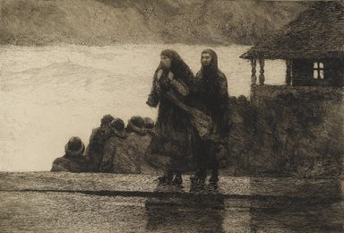 Winslow Homer (American, 1836-1910). <em>Perils of the Sea</em>, 1888. Etching in black ink, Sheet: 21 1/16 x 28 in. (53.5 x 71.1 cm). Brooklyn Museum, Carll H. de Silver Fund, 35.1060 (Photo: Brooklyn Museum, 35.1060_PS2.jpg)