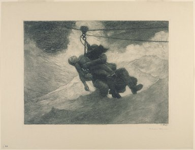 Winslow Homer (American, 1836-1910). <em>The Life Line</em>, 1884. Etching in green ink with aquatint and drypoint on beige moderately thick moderately textured wove paper, Sheet: 17 1/2 x 23 in. (44.5 x 58.4 cm). Brooklyn Museum, Carll H. de Silver Fund, 35.1062 (Photo: Brooklyn Museum, 35.1062_PS9.jpg)