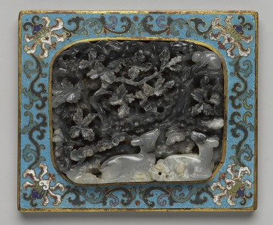 <em>Miniature Table Screen</em>, 1736-1795. Cloisonne enamel on copper alloy, inset carved jade panel and wooden stand, 7 1/8 x 6 x 2 1/2 in. (18.1 x 15.2 x 6.4 cm). Brooklyn Museum, Gift of Samuel P. Avery, 35.1078a-b. Creative Commons-BY (Photo: , 35.1078a_front_PS9.jpg)
