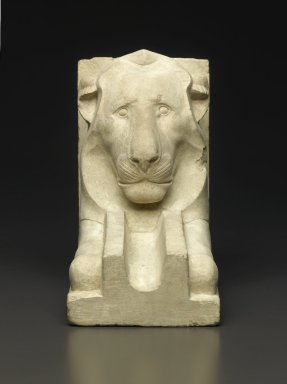 <em>Waterspout in the Shape of a Lion</em>, 664-30 B.C.E. Limestone, 7 1/2 x 4 1/2 x 8 9/16 in. (19 x 11.5 x 21.7 cm). Brooklyn Museum, Charles Edwin Wilbour Fund, 35.1311. Creative Commons-BY (Photo: Brooklyn Museum, 35.1311_front_PS1.jpg)