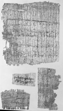 <em>Papyrus Fragment Inscribed in Greek</em>, 6th century C.E. Papyrus, ink, Glass: 10 7/16 x 16 7/16 in. (26.5 x 41.7 cm). Brooklyn Museum, Gift of Theodora Wilbour, 35.1477 (Photo: Brooklyn Museum, 35.1477_bw_IMLS.jpg)