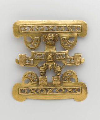 Chiriquí Style. <em>Gold Pendant in Form of Anthropomorphic Being</em>, 1200-1550. Gold, 4 1/8 x 3 3/4 x 1/8 in. (10.4 x 9.5 x 0.3 cm). Brooklyn Museum, Alfred W. Jenkins Fund, 35.148. Creative Commons-BY (Photo: Brooklyn Museum, 35.148_PS1.jpg)