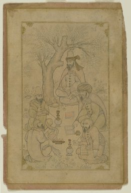 <em>A Gathering of Dervishes</em>, mid-17th century or later. Ink and light color wash on paper, Image: 9 1/16 x 5 7/8 in. (23 x 14.9 cm). Brooklyn Museum, Brooklyn Museum Collection, 35.1522 (Photo: Brooklyn Museum, 35.1522_PS2.jpg)