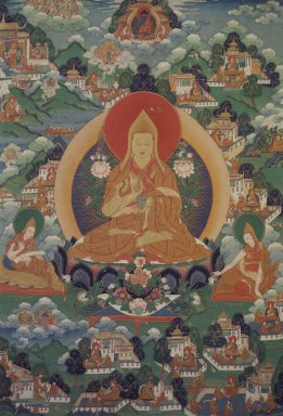 <em>Tsongkhapa with Biographical Scenes</em>, 19th century. Colors on cotton with fine gold lines, 51 9/16 x 28 3/8 in. (131 x 72 cm). Brooklyn Museum, 35.1567 (Photo: Image courtesy of the Shelley and Donald Rubin Foundation, George Roos,er, 35.1567.jpg)