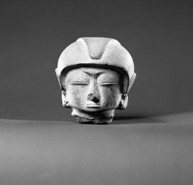 Chorrera. <em>Head of a Figure</em>, 1200-300 B.C.E. Clay, 3 3/8 x 3 3/8 in.  (8.6 x 8.6 cm). Brooklyn Museum, Ella C. Woodward Memorial Fund, 35.1677. Creative Commons-BY (Photo: Brooklyn Museum, 35.1677_acetate_bw.jpg)