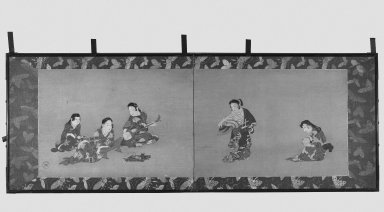 Seal of Iwasa Katsushige (Japanese, died 1673). <em>Dancer, Musicians, Spectators and Attendant</em>, 17th century (possibly). Two-fold screen, ink and color on paper, Each of 2 panels: 36 5/8 x 27 in. (93 x 68.6 cm). Brooklyn Museum, Gift of Horace O. Havemeyer, 35.1845. Creative Commons-BY (Photo: Brooklyn Museum, 35.1845_bw.jpg)
