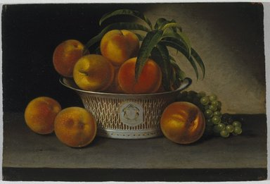 Raphaelle Peale (American, 1774-1825). <em>Still Life with Peaches</em>, 1821. Oil on panel, 12 13/16 x 19 5/16 in. (32.5 x 49 cm). Brooklyn Museum, Caroline H. Polhemus Fund, 35.1865 (Photo: Brooklyn Museum, 35.1865_SL1.jpg)