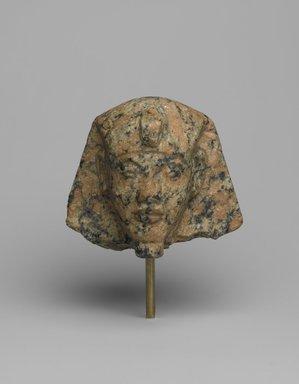 <em>Head of a Shabty of King Akhenaten</em>, ca. 1352-1336 B.C.E. Granite, 3 1/4 × 3 1/2 × 3 in. (8.3 × 8.9 × 7.6 cm). Brooklyn Museum, Charles Edwin Wilbour Fund, 35.1866. Creative Commons-BY (Photo: Brooklyn Museum, 35.1866_PS2.jpg)