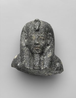 <em>Head from a Shabty of King Akhenaten</em>, ca. 1352-1336 B.C.E. Granite, 3 1/2 x 3 9/16 x 2 3/4 in. (8.9 x 9 x 7 cm). Brooklyn Museum, Charles Edwin Wilbour Fund, 35.1868. Creative Commons-BY (Photo: Brooklyn Museum, 35.1868_PS2.jpg)