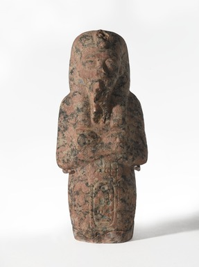 <em>Shabty of Akhenaten</em>, ca. 1352-1336 B.C.E. Pink granite, 6 11/16 × 2 15/16 × 2 3/16 in., 1.5 lb. (17 × 7.5 × 5.5 cm, 0.68kg). Brooklyn Museum, Charles Edwin Wilbour Fund, 35.1871. Creative Commons-BY (Photo: , 35.1871_PS9.jpg)