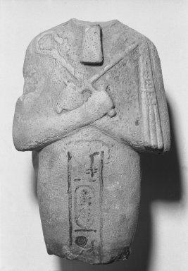 <em>Fragment of a Shabti of Akhenaten</em>, ca. 1352-1336 B.C.E. Faience, 4 5/8 x 2 15/16 x 1 1/2 in. (11.7 x 7.4 x 3.8 cm). Brooklyn Museum, Charles Edwin Wilbour Fund, 35.1879. Creative Commons-BY (Photo: Brooklyn Museum, 35.1879_bw.jpg)