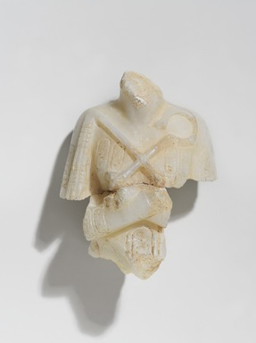 <em>Shabty of Akhenaten</em>, ca. 1352-1336 B.C.E. Egyptian alabaster (calcite), 4 1/2 × 3 1/8 × 1 15/16 in., 0.5 lb. (11.4 × 7.9 × 4.9 cm, 0.23kg). Brooklyn Museum, Charles Edwin Wilbour Fund, 35.1883. Creative Commons-BY (Photo: , 35.1883_PS9.jpg)