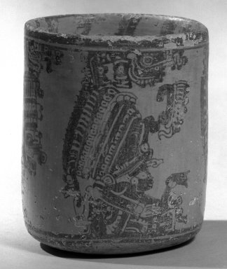Maya. <em>Vase</em>. Ceramic, pigment, 5 3/4 x 4 3/4 x 4 3/4 in. (14.6 x 12.1 x 12.1 cm). Brooklyn Museum, A. Augustus Healy Fund, 35.1888. Creative Commons-BY (Photo: Brooklyn Museum, 35.1888_acetate_bw.jpg)