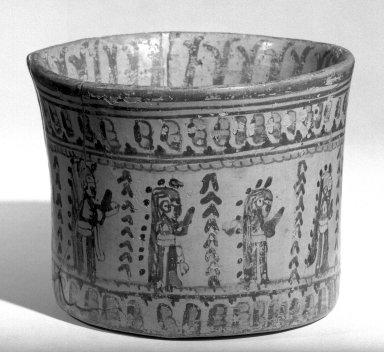 Maya. <em>Vase</em>. Ceramic, pigment, 4 x 5 3/16 x 5 3/16 in. (10.2 x 13.2 x 13.2 cm). Brooklyn Museum, A. Augustus Healy Fund, 35.1891. Creative Commons-BY (Photo: Brooklyn Museum, 35.1891_acetate_bw.jpg)