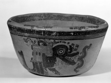 Maya. <em>Bowl</em>. Ceramic, pigment, 4 3/16 x 7 5/8 x 7 3/4 in. (10.6 x 19.4 x 19.7 cm). Brooklyn Museum, A. Augustus Healy Fund, 35.1894. Creative Commons-BY (Photo: Brooklyn Museum, 35.1894_bw.jpg)