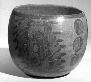 Maya. <em>Bowl</em>. Ceramic, pigment, 5 x 6 1/4 x 6 1/4 in. (12.7 x 15.9 x 15.9 cm). Brooklyn Museum, A. Augustus Healy Fund, 35.1895. Creative Commons-BY (Photo: Brooklyn Museum, 35.1895_acetate_bw.jpg)