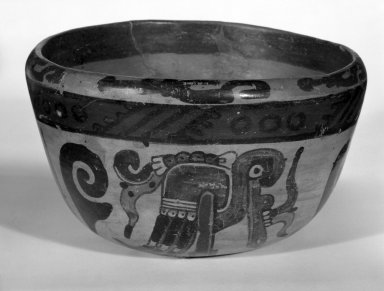 Maya. <em>Bowl</em>, ca. 500-700. Ceramic, pigment, 3 3/4 x 6 5/16 x 6 5/16 in. (9.5 x 16 x 16 cm). Brooklyn Museum, A. Augustus Healy Fund, 35.1896. Creative Commons-BY (Photo: Brooklyn Museum, 35.1896_bw.jpg)