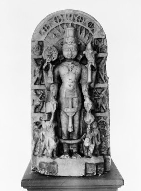 <em>Figure of Vishnu</em>, 12th-16th century. Carved in relief in marble, 9 13/16 x 20 1/2 in. (25 x 52 cm). Brooklyn Museum, Brooklyn Museum Collection, 35.1950. Creative Commons-BY (Photo: Brooklyn Museum, 35.1950_bw.jpg)
