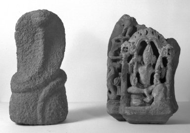 <em>Uneven Fragment</em>, 10th century. Limestone, 11 13/16 x 9 1/16 in. (30 x 23 cm) with base. Brooklyn Museum, Brooklyn Museum Collection, 35.1956. Creative Commons-BY (Photo: Brooklyn Museum, 35.1956_acetate_bw.jpg)