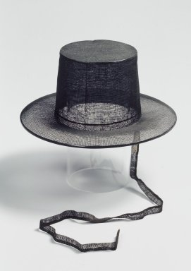 <em>Official's Top Hat (Gat)</em>, late 19th-early 20th century. Horsehair, bamboo, Overall Height: 4 1/2 in. (11.5 cm). Brooklyn Museum, Gift of Mrs. Frederic B. Pratt, 35.1964.2. Creative Commons-BY (Photo: Brooklyn Museum, 35.1964.2.jpg)