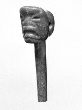 Olmec. <em>Pendant</em>, 800-500 B.C.E. Jade, 7/8 x 1 3/8 x 3 in. (2.2 x 3.5 x 7.6 cm). Brooklyn Museum, Gift of Vica de Iturbe, 35.1996. Creative Commons-BY (Photo: Brooklyn Museum, 35.1996_view1_acetate_bw.jpg)