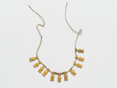 <em>Fragmentary Necklace with Cornflowers</em>, ca. 1539-1292 B.C.E. Faience, 3 3/8 in. length (8.6 cm); average dimension of pendant: 7/16 x 1/8  (1.1 x 0.3 cm). Brooklyn Museum, Gift of the Egypt Exploration Society, 35.2023. Creative Commons-BY (Photo: Brooklyn Museum, 35.2023_PS2.jpg)