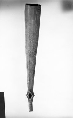 Zande. <em>Musical Horn</em>, late 19th-early 20th century. Ivory tusk, 4 3/4 x 25 3/16 in. (12.1 x 64 cm). Brooklyn Museum, Gift of Appleton Sturgis, 35.2031. Creative Commons-BY (Photo: Brooklyn Museum, 35.2031_bw.jpg)
