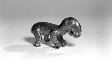 <em>Standing Tapir</em>. Copper, 2 3/16 x 3 3/4 in. (5.5 x 9.5 cm). Brooklyn Museum, Alfred W. Jenkins Fund, 35.267. Creative Commons-BY (Photo: Brooklyn Museum, 35.267_acetate_bw.jpg)