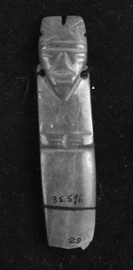 <em>Pendant</em>. Jade Brooklyn Museum, Alfred W. Jenkins Fund, 35.596. Creative Commons-BY (Photo: Brooklyn Museum, 35.596_acetate_bw.jpg)