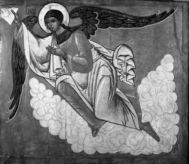 Unknown Russian artist. <em>Angel</em>, 16th century. Unframed panel, 56 x 61 3/4 in. (142.2 x 156.8 cm). Brooklyn Museum, Anonymous gift, 35.621 (Photo: Brooklyn Museum, 35.621_acetate_bw.jpg)