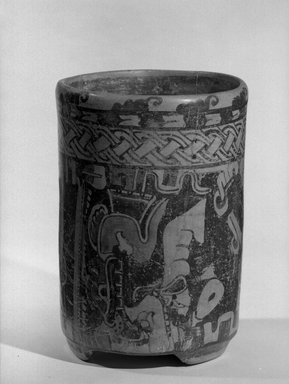 Maya. <em>Jar</em>. Ceramic, pigment, 8 x 5 3/4 x 5 3/4 in. (20.3 x 14.6 x 14.6 cm). Brooklyn Museum, A. Augustus Healy Fund, 35.651. Creative Commons-BY (Photo: Brooklyn Museum, 35.651_acetate_bw.jpg)