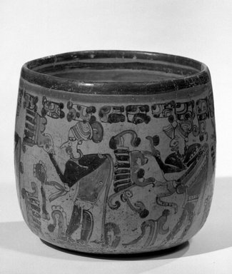 Maya. <em>Jar</em>, 550-950. Ceramic, pigment, 5 1/4 x 6 x 6 in. (13.3 x 15.2 x 15.2 cm). Brooklyn Museum, A. Augustus Healy Fund, 35.654. Creative Commons-BY (Photo: Brooklyn Museum, 35.654_view1_acetate_bw.jpg)
