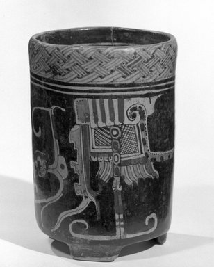 Maya. <em>Jar</em>, 600-900. Ceramic, pigment, 8 × 5 3/8 × 5 1/2 in. (20.3 × 13.7 × 14 cm). Brooklyn Museum, A. Augustus Healy Fund, 35.655. Creative Commons-BY (Photo: Brooklyn Museum, 35.655_view1_acetate_bw.jpg)