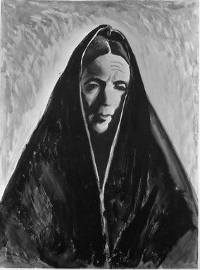 Ben Silbert (American, 1893-1940). <em>Castilian Woman</em>, 1927. Watercolor on paperboard, 24 7/8 x 18 3/4 in. (63.2 x 47.6 cm). Brooklyn Museum, Gift of Mr. and Mrs. William Dyckerman Vogel in memory of Ralph Harman Booth, 35.665 (Photo: Brooklyn Museum, 35.665_acetate_bw.jpg)