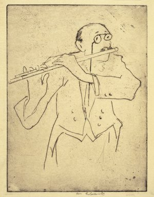 Anne Goldthwaite (American, 1869-1944). <em>Flute</em>, ca. 1933. Etching on thin white Japan paper, plate: 12 1/16 x 9 in.  (30.6 x 22.9 cm). Brooklyn Museum, Museum Collection Fund, 35.840 (Photo: Brooklyn Museum, 35.840_SL1.jpg)