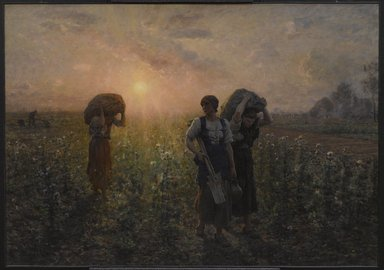 Jules Breton (French, 1827-1906). <em>Fin du travail (The End of the Working Day)</em>, 1886-1887. Oil on canvas, 33 1/16 x 47 1/4in. (84 x 120cm). Brooklyn Museum, Gift of Mrs. Edward S. Harkness, 35.867 (Photo: Brooklyn Museum, 35.867_PS9.jpg)