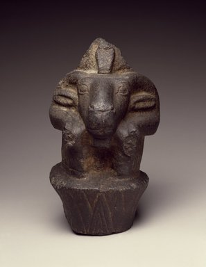<em>Ram-Headed Lotus Column (Amun)</em>, ca. 945–525 B.C.E. Black granite, pigment, 10 1/2 x 7 1/4 x 10 in., 26 lb. (26.7 x 18.4 x 25.4 cm, 11.79kg). Brooklyn Museum, Gift of Mrs. George D. Pratt, 35.932. Creative Commons-BY (Photo: Brooklyn Museum, 35.932_SL3.jpg)