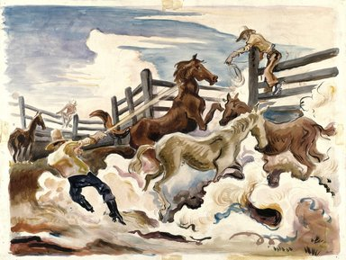 Thomas Hart Benton (American, 1889-1975). <em>Lassoing Horses</em>, 1931. Watercolor over graphite on cream, medium-weight, slightly textured wove paper mounted to a secondary paper, Sheet: 21 1/4 x 27 3/4 in. (54 x 70.5 cm). Brooklyn Museum, John B. Woodward Memorial Fund, 35.948 (Photo: Brooklyn Museum, 35.948_SL1.jpg)