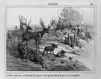 Vicomte de Noé, Amédée Charles Henri (Cham) (French, 1819-1879). <em>Le Gibier Américain se félicitant de la guerre civile qui lui laisse la paix et la tranquillité</em>, ca. 1862. Lithograph on wove paper, 7 3/16 x 9 13/16 in. (18.2 x 24.9 cm). Brooklyn Museum, Frederick Loeser Fund, 35.975 (Photo: Brooklyn Museum, 35.975_bw.jpg)