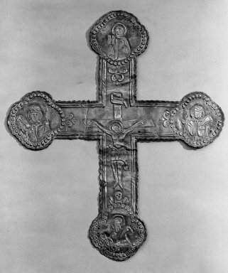 Greek-Orthodox. <em>Latin Cross</em>. Metal, 13 3/8 x 11 7/16 in. (34 x 29 cm). Brooklyn Museum, Frank L. Babbott Fund, 36.115. Creative Commons-BY (Photo: Brooklyn Museum, 36.115_acetate_bw.jpg)