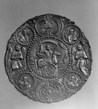 Greek-Orthodox. <em>Plaque from Constantinople</em>. Metal, diam: 9 1/16 in. (23 cm). Brooklyn Museum, Frank L. Babbott Fund, 36.117. Creative Commons-BY (Photo: Brooklyn Museum, 36.117_acetate_bw.jpg)