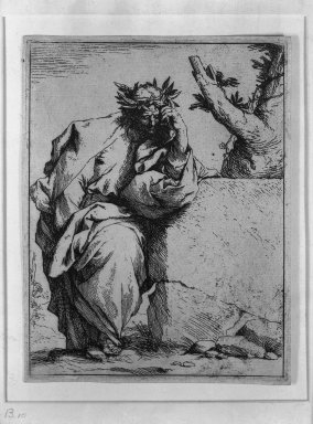 Jusepe de Ribera (Spanish, 1591-1652). <em>The Poet</em>, ca.1620-1621. Etching on laid paper, 6 5/16 x 4 13/16 in. (16 x 12.2 cm). Brooklyn Museum, Frank L. Babbott Fund, 36.139 (Photo: Brooklyn Museum, 36.139_acetate_bw.jpg)