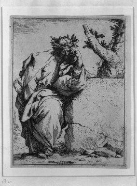 Jusepe de Ribera (Spanish, 1591-1652). <em>The Poet</em>, ca.1620-1621. Etching on laid paper, 6 5/16 x 4 13/16 in. (16 x 12.2 cm). Brooklyn Museum, Frank L. Babbott Fund, 36.139 (Photo: Brooklyn Museum, 36.139_acetate_bw.jpg)
