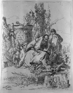 Giovanni Battista Tiepolo (Italian, Venetian,1696-1770). <em>Magician Seated and Observing the Skulls</em>. Etching on white laid paper, 8 7/8 x 7 in. (22.5 x 17.8 cm). Brooklyn Museum, Frank L. Babbott Fund, 36.141 (Photo: Brooklyn Museum, 36.141_view1_acetate_bw.jpg)
