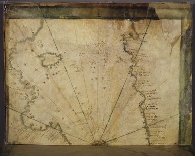 Greek. <em>Map: The Western Mediterranean</em>, mid-16th century. Parchment, Sheet: 7 7/8 x 12 in. (20 x 30.5 cm). Brooklyn Museum, Frank L. Babbott Fund and Henry L. Batterman Fund, 36.203.5 (Photo: Brooklyn Museum, 36.203.5_Left.jpg)