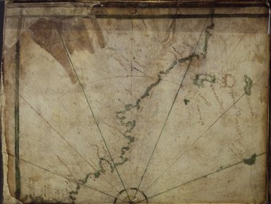 Greek. <em>Map: The Atlantic Coast</em>, mid-16th century. Parchment, Sheet: 7 7/8 x 12 in. (20 x 30.5 cm). Brooklyn Museum, Frank L. Babbott Fund and Henry L. Batterman Fund, 36.203.6 (Photo: Brooklyn Museum, 36.203.6_Right.jpg)
