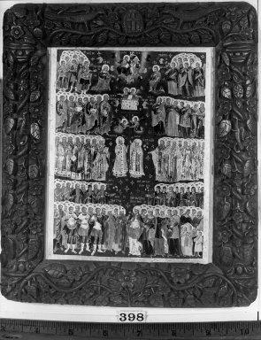 "Unknown. <em>Icon, ""Te Deum Laudamus.""</em> . Painting, 21 1/4 x 16 1/8 in. (54 x 41 cm). Brooklyn Museum, Frank L. Babbott Fund and Henry L. Batterman Fund, 36.205 (Photo: Brooklyn Museum, 36.205_acetate_bw.jpg)"