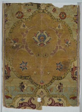 "<em>""Angel"" Carpet Fragment</em>, early 16th century. Wool and silk pile, asymmetrical knot, Old, approx.: 18 1/2 x 6 1/2 in. (47 x 16.5 cm). Brooklyn Museum, Gift of Herbert L. Pratt in memory of his wife, Florence Gibb Pratt, 36.213e. Creative Commons-BY (Photo: Brooklyn Museum, 36.213e_PS2.jpg)"